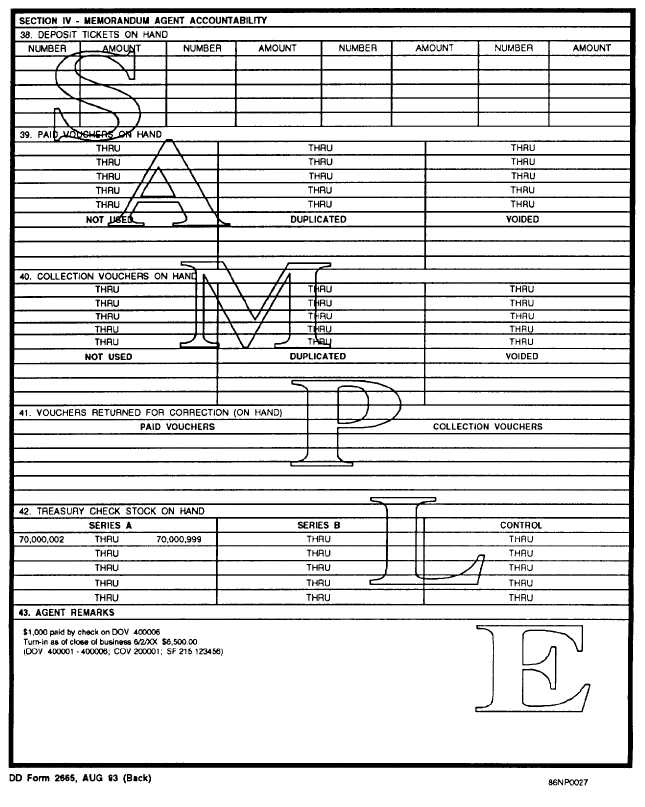 Sample Dd Form 2665, Daily Agent Accountability Summary (Back)
