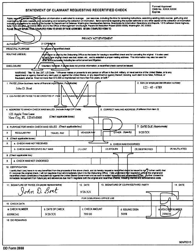 Sample Dd Form 2660, Statement Of Claimant Requesting Recertified