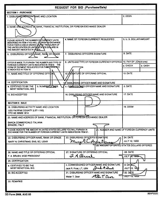 Sample DD Form 2668, Request for Bid (Purchase/Sale) for the Sale ...