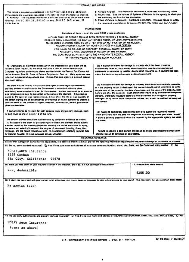 Sample Of Standard Form 95, Claim For Damage, Injury, Or Death