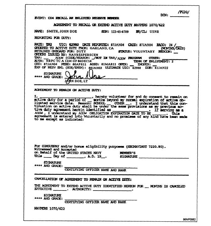 Figure 5-8.—SDS Agreement to Recall or Extend Active Duty, NAVPERS ...