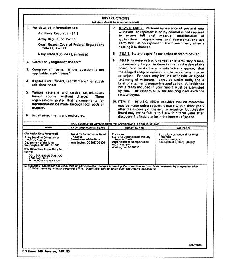 figure 5-27.—application for correction of military records, dd form