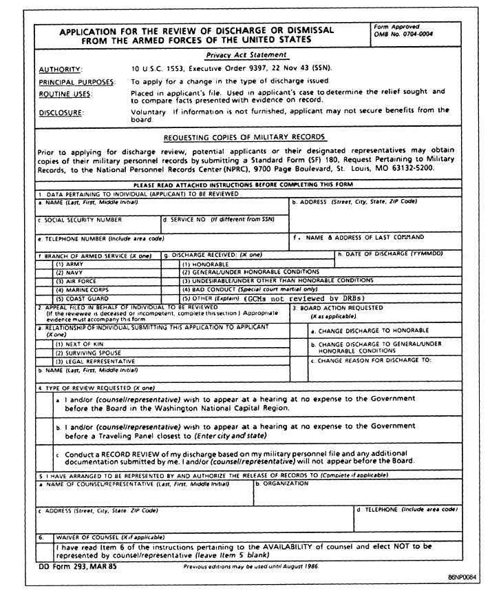 Figure 5-28.—Application For The Review Of Discharge Or Dismissal