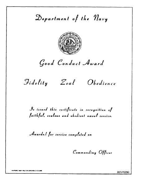 Figure 5 34good conduct award certificate good conduct award certificate yadclub Images