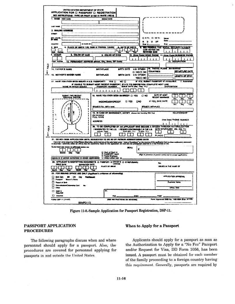 Figure 11 9 sample application for passport by mail dsp 82