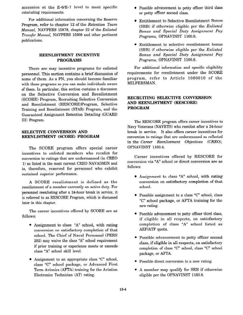 reenlistment incentive programs rh navyadministration tpub com