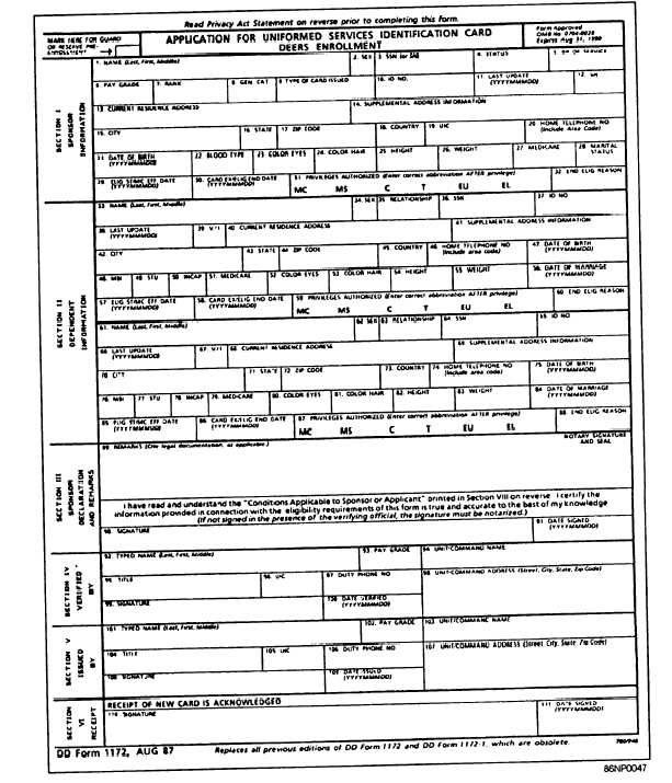 Figure 3-8.—Application For Uniformed Services Identification Card