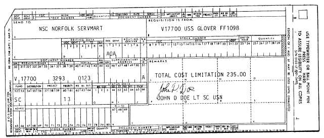 Figure 5-4.—Money Value Only (MVO), DD Form 1348