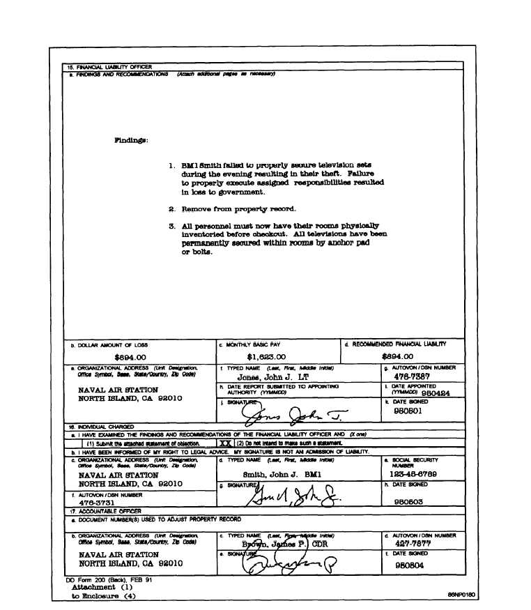 Figure 8-14.—Example Of A Completed Report Of Survey, Dd Form 200