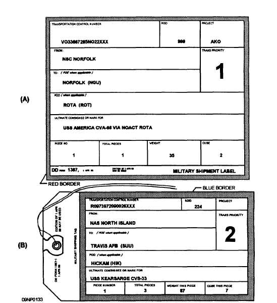Figure 14-5.-(A) Military Shipment Label, Dd Form 1387; (B