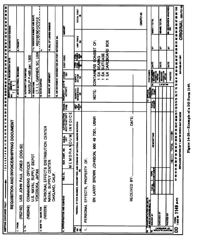 Figure 14-20. Example of a DD Form 1149.