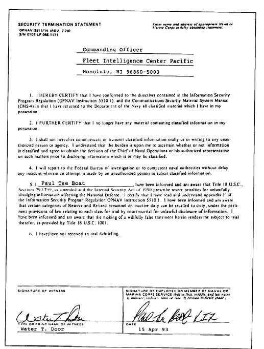 figure 10 1 security termination statement 0pnav form 5511 14