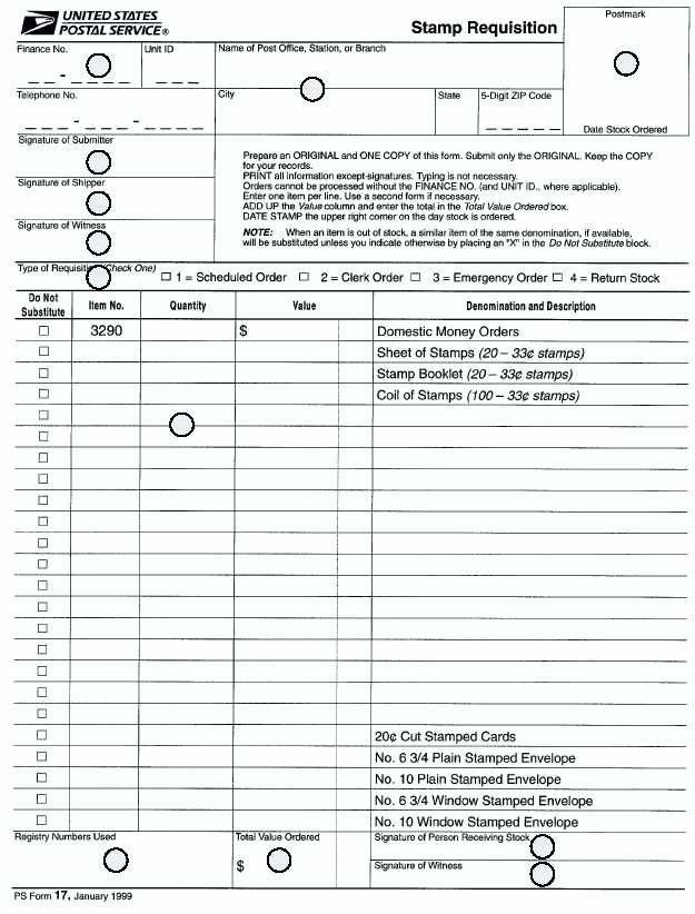 Figure An Example Of A Ps Form  Stamp Requisition