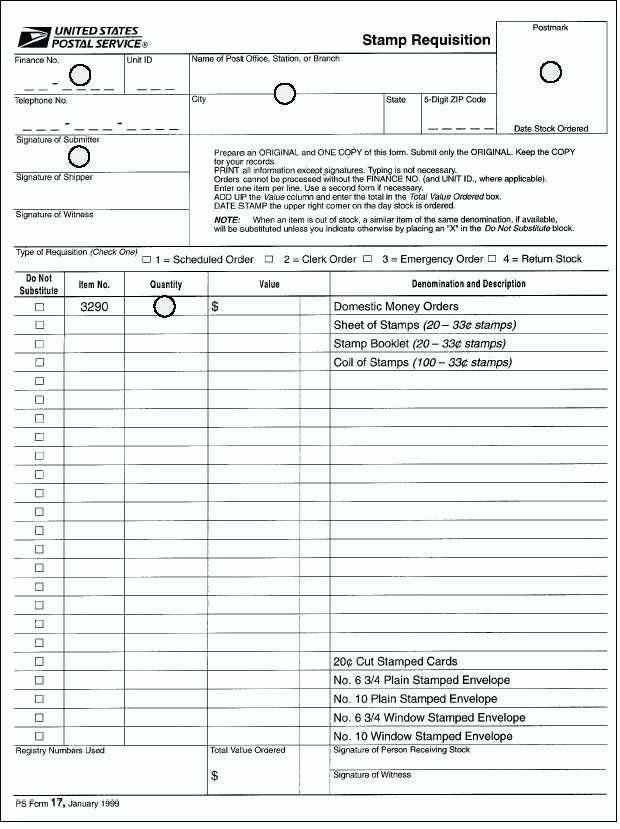 An Example Of A PS Form 17 Used To Requisition Money Orders.