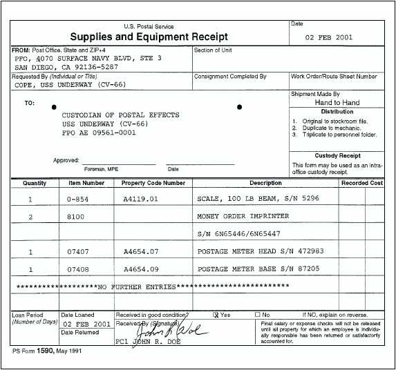 USPS Noncapital and Nonsensitive Equipment and Expendable Supplies