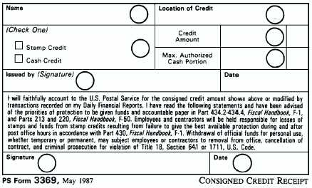 figure 2 5 an example of a stamp credit receipt ps form 3369